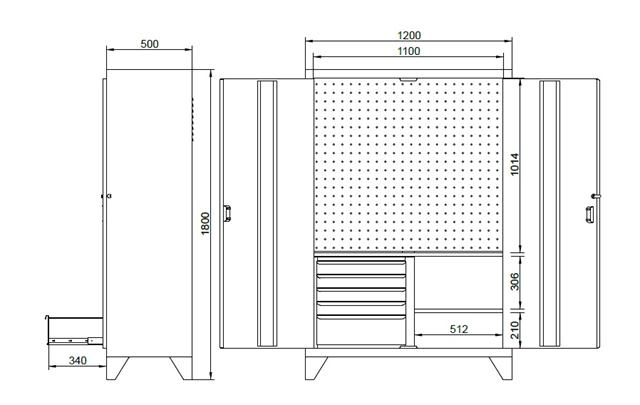armário de aço com gaveteiro portas painel perfurado 150GPF medidas