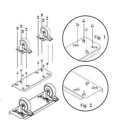 montagem dos rodízios equipamentos cmb