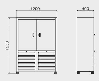 medidas Armário de aço com gavetas para ferramentas ARM-003