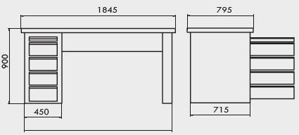 bancada de trabalho com gaveteiro industrial simples tampo pinus 40mm medidas 220A compressor