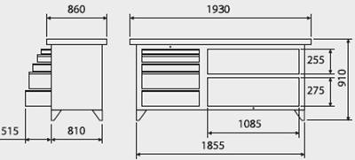 bancada industrial 5 gavetas tampo 40mm medidas 217A 400px compressor