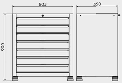 gaveteiro para oficina mecânica com rodinhas painel perfurado e tampo de pinus 40mm medidas 500BMP 400px compressor