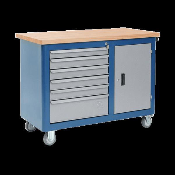 gaveteiro para oficina mecânica com rodinhas e tampo de pinus 40mm 502 600px compressor