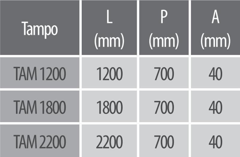 tampo de madeira dimensões modelos 1200 1800 2200