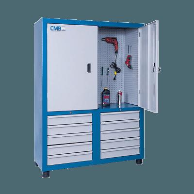 armário de ferramentas com gavetas e chapa perfurada de aço ARM 005