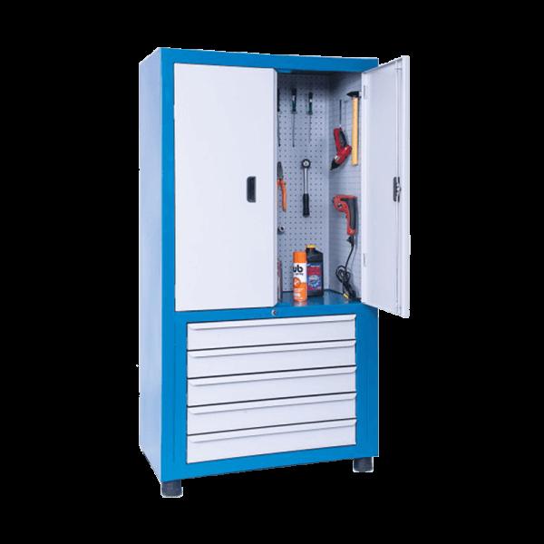 armário de ferramentas com gavetas e chapa perfurada de aço ARM 019