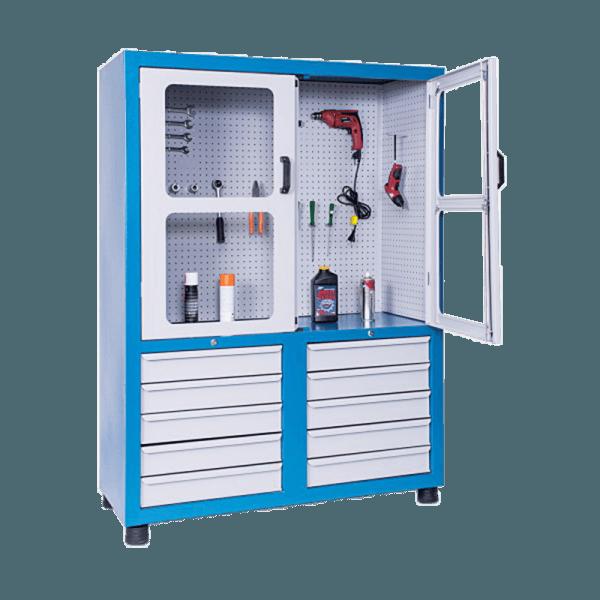 armário de ferramentas com gavetas e portas com visor ARM 010