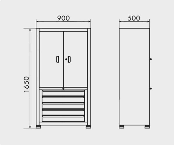 armário industrial com prateleira de aço e 5 gavetas medidas ARM 018