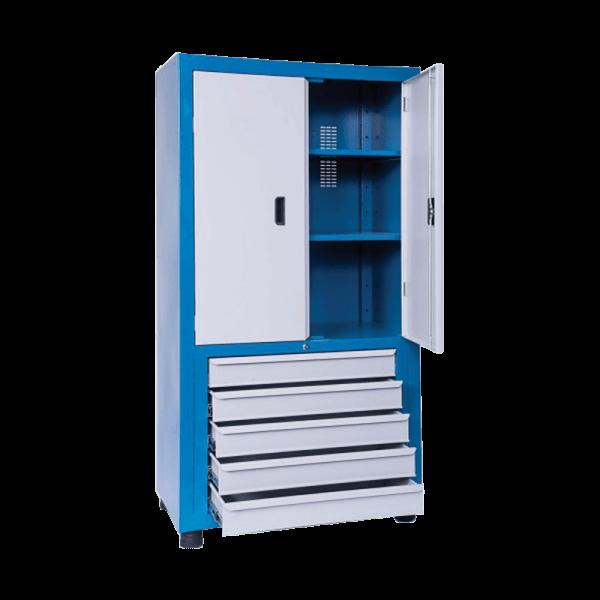 armário industrial com prateleiras de aço e 5 gavetas ARM 018