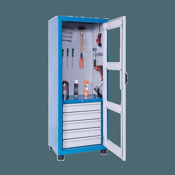 armário industrial para ferramentas com 5 gavetas e chapa perfurada de aço ARM 016