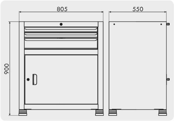 estante gaveteiro para parafuso com 1 porta e 3 gavetas medidas GAV 811