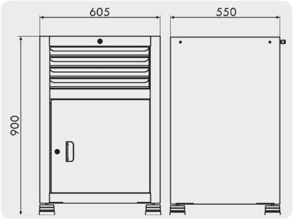 gaveteiro industrial com 1 porta e 4 gavetas medidas GAV 613
