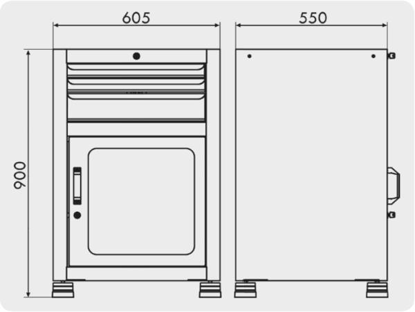 gaveteiro industrial com 1 porta visor e 3 gavetas medidas GAV 615