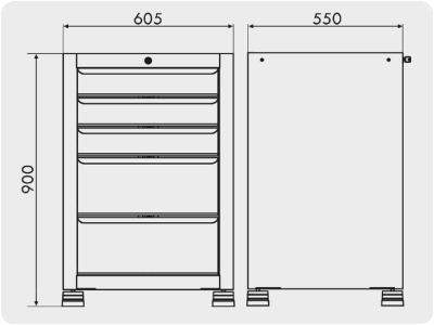 gaveteiro industrial com 5 gavetas GAV 605