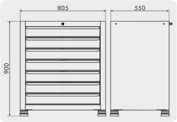 gaveteiro industrial com 7 gavetas medidas GAV 801