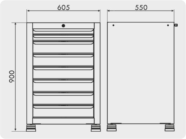 gaveteiro industrial com 8 gavetas medidas GAV 604