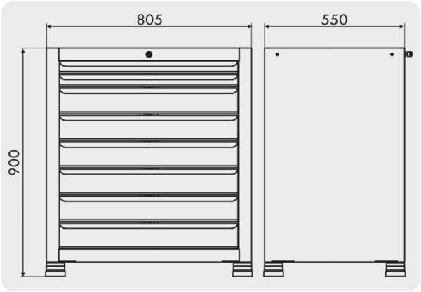 gaveteiro industrial com 8 gavetas medidas GAV 804