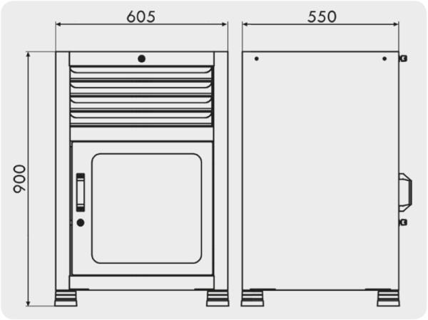 gaveteiro organizador com 4 gavetas e 1 porta visor medidas GAV 617