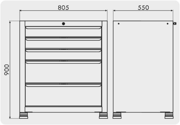 gaveteiro organizador com 5 gavetas medidas GAV 805
