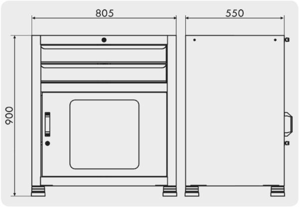 gaveteiro organizador para oficinas com 2 gavetas medidas GAV 816
