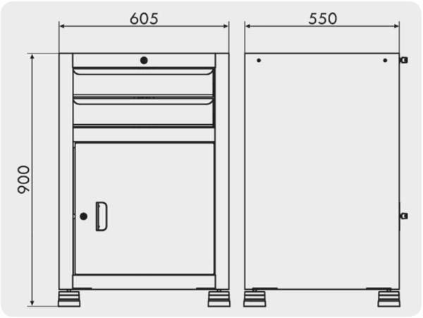 gaveteiro para ferramentas com 1 porta e 2 gavetas para oficina medidas GAV 612