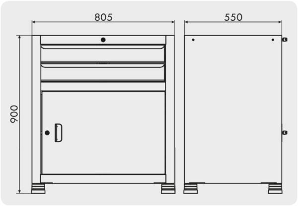 gaveteiro para ferramentas com 1 porta medidas GAV 812