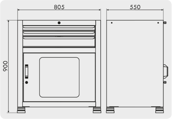 gaveteiro para ferramentas com 1 porta visor e 3 gavetas medidas GAV 815