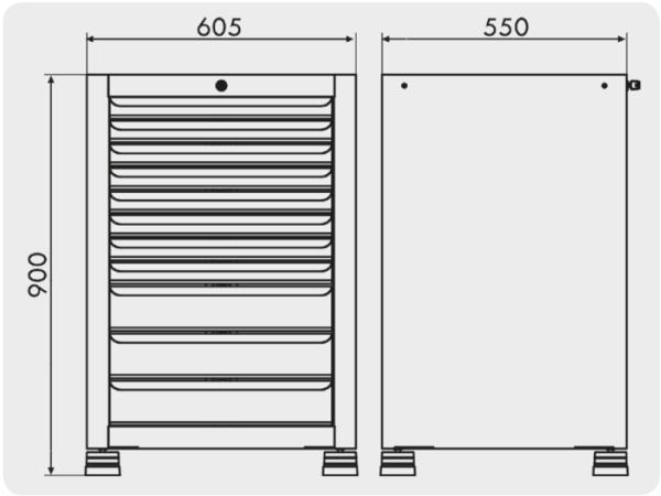 gaveteiro para ferramentas com 11 gavetas medidas GAV 607