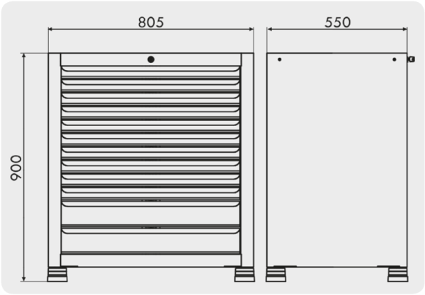 gaveteiro para ferramentas com 12 gavetas medidas GAV 808