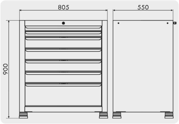 gaveteiro para ferramentas com 7 gavetas medidas GAV 803