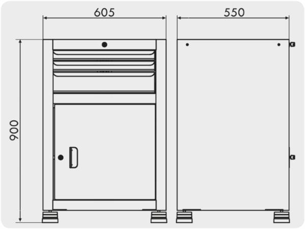 gaveteiro para oficina com 1 porta e 3 gavetas medidas GAV 611