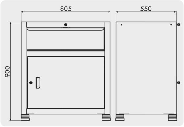 gaveteiro para oficina com 1 porta medidas GAV 814