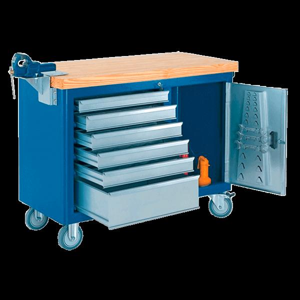gaveteiro para oficina mecânica com rodinhas e tampo de pinus 40 mm 500