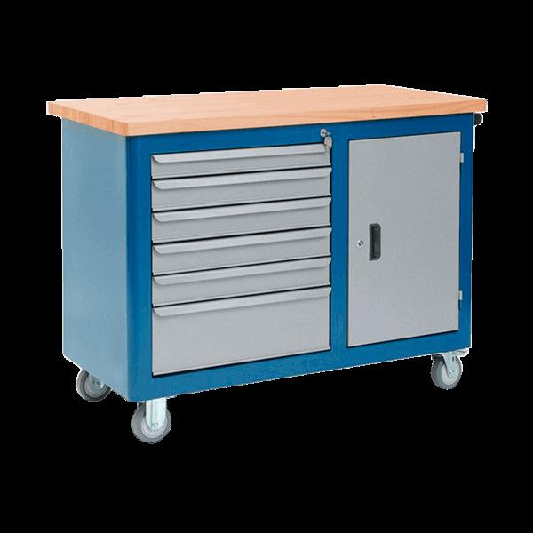 gaveteiro para oficina mecânica com rodinhas e tampo de pinus 40 mm 502