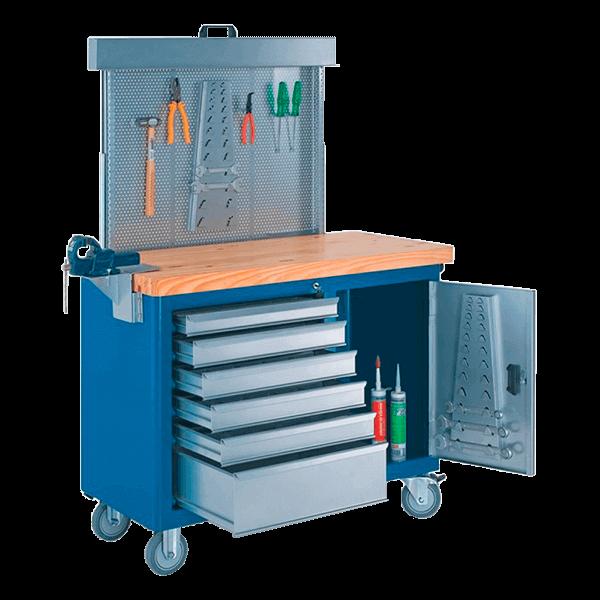 gaveteiro para oficina mecânica com rodinhas painel perfurado e tampo de pinus 40 mm 500BMP