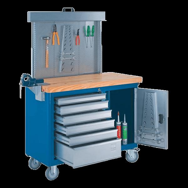 gaveteiro para oficina mecânica com rodinhas painel perfurado e tampo de pinus 40mm 500BMP