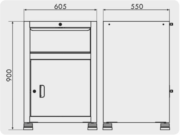 gaveteiros organizador com 1 porta e 1 gaveta medidas GAV 614