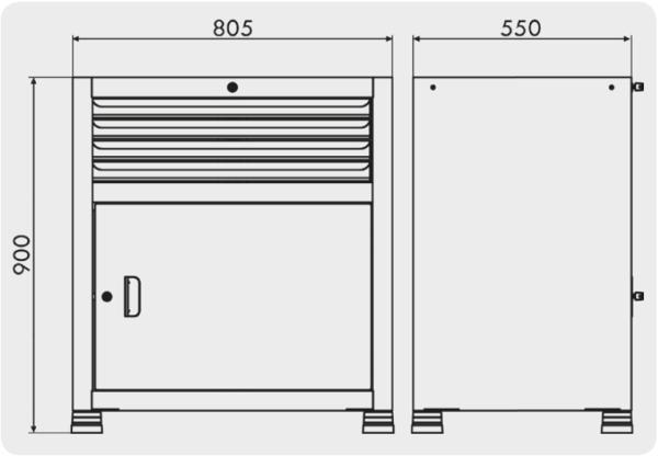gaveteiros para ferramentas com 4 gavetas e 1 porta medidas GAV 813